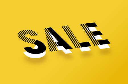 Vector blak and white 3D effect sale typography design on a yellow background. 矢量图像