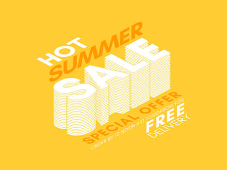 Vector 3D effect summer sale typography design on a yellow background.