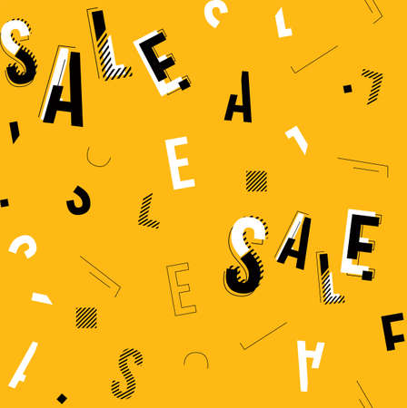 Vector black, white and yellow sale typography seamless pattern with geometric details.