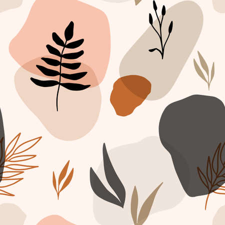 Hand drawn vector seamless floral organic pattern. Organic shapes, plants and textures for a background. Vektorové ilustrace