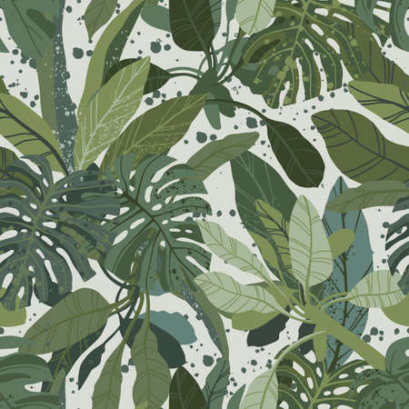 Seamless hand drawn tropical vector pattern with monstera and exotic palm leaves.