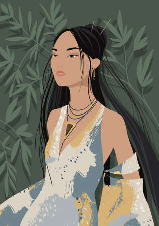 Black-haired beautiful young asian woman wearing an evening dress, vector illustration