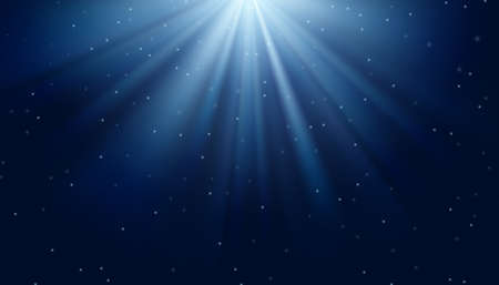 White and light blue rays on the dark blue background. Vector illustration.