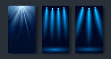 Set of dark blue backgrounds with glowing spotlights and light rays. Vector illustration. Ilustração Vetorial