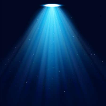 Glowing spotlight on a dark blue background. Vector background illustration. Ilustração Vetorial