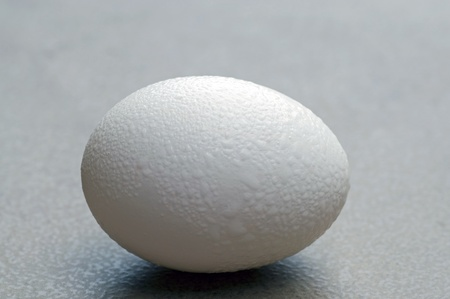A photograph of a dewy fresh white chicken egg in the shell