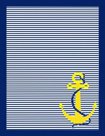 azul marino: Un fondo de rayas azules y blancas con un ancla de oro en la esquina inferior derecha Foto de archivo