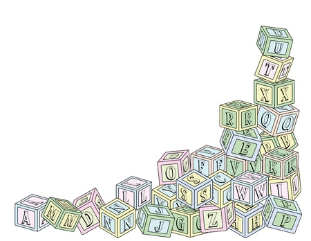 An illustration of wooden toy alphabet building blocks in the lower right corner