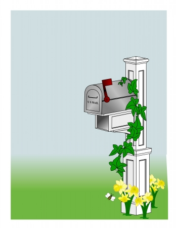 An illustration of a rural mailbox sitting on a white post surrounded by flowers and vines