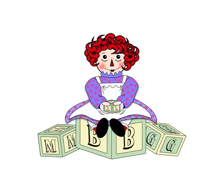 An illustration of a red headed doll sitting on top of wooden toy alphabet building blocks illustration