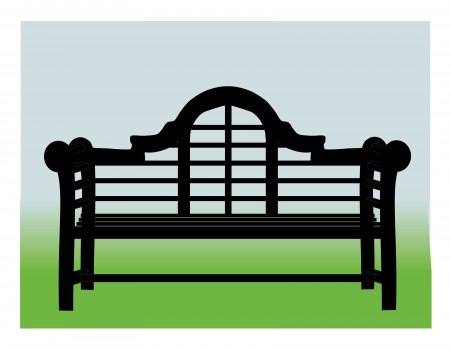 An illustration of an oriental garden bench on a background of blue and green
