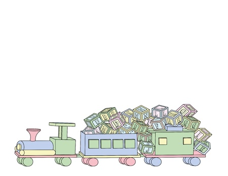 An illustration of a wooden toy train carrying lots of wooden toy alphabet building blocks