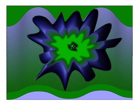 An abstract depiction of a blue and green splash on a background of waves