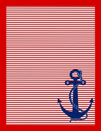 A background of red and white stripes with a blue anchor in the lower right corner Stock Photo