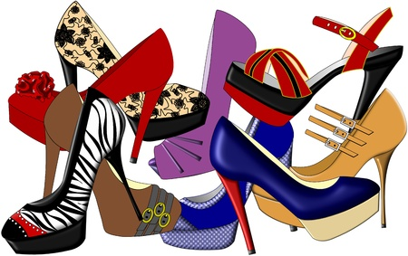 An illustration of high heeled shoes in various different styles