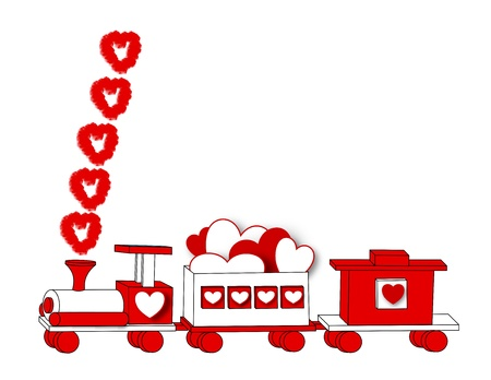 A border illustration of a wooden toy train decorated for Valentine Day