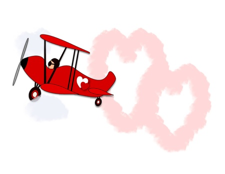 An illustration of a biplane skywriter drawing hearts in the sky Stock Photo
