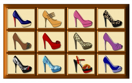 Twelve differently decorated ladys high fashion, high heeled shoes in a display case