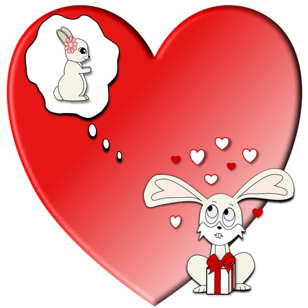 An illustration of a boy rabbit with a valentine present dreaming of the girl rabbit he loves in front of a big red heart Stock Photo