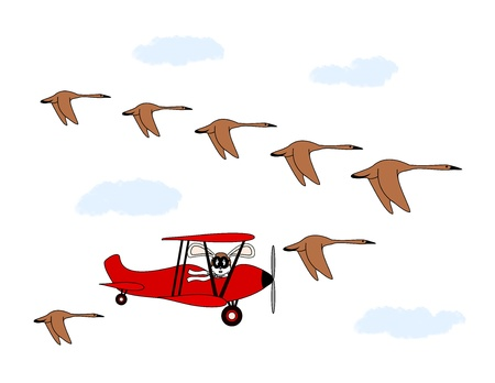 An illustration of a rabbit in a biplane flying in formation with geese