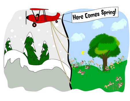 An illustration of a biplane pulling a spring scene into a winter scene Stock Photo