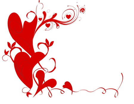 A stylized Valentine border containing hearts and vines