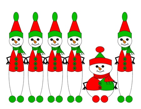 tall and short: Row of tall snow elves containing one short snow elf