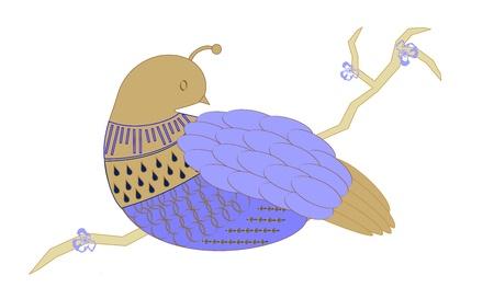 Stylized blue partridge sitting on a branch