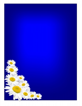 Photos of yellow and white daisies in the lower left corner of a blue background