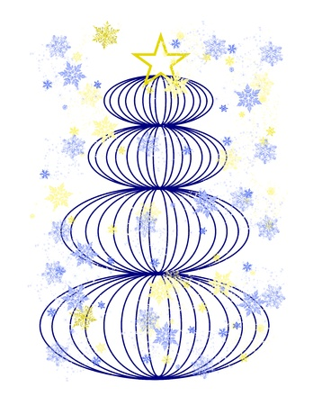 Stylized blue Christmas tree with gold and blue snowflakes Stock Photo