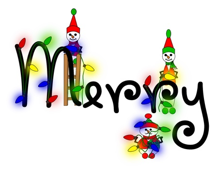 elves: Snow elves decorating the word Merry with Christmas lights  Stock Photo