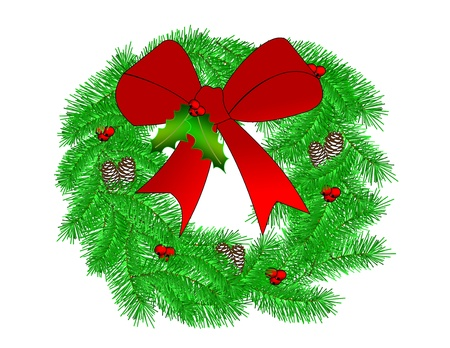 A pine wreath decorated for Christmas with pinecones and a red bow  Stock Photo