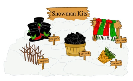 Parts needed to build and decorate a snowman displayed as a kit  Stock Photo