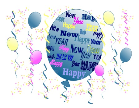 The words Happy New Year in different fonts, sizes, and colors on a balloon surrounded by other colored balloons, streamers, and confetti