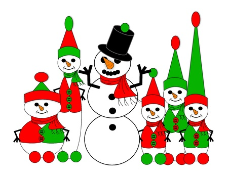 A snowman built by five different sizes of snow elves Stock Photo