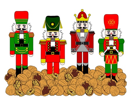 Four different holiday nutcrackers standing in a bed of walnuts