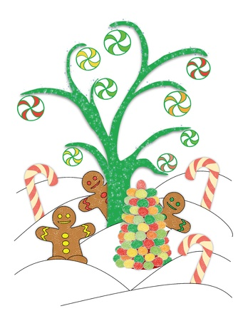 An illustrated scene of peppermints hanging from a sugar tree along with gingerbread men, candy canes, and a gumdrop tree