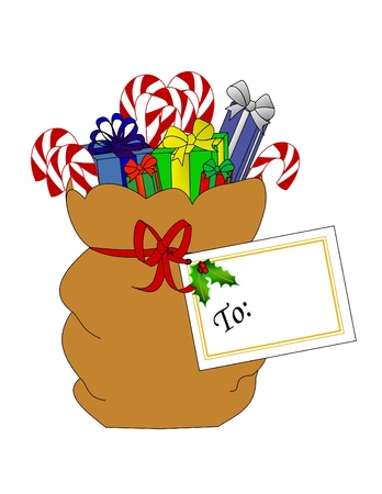 Santas sack full of presents and candy canes with a gift tag.