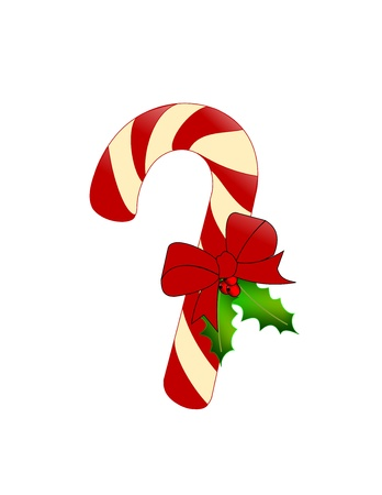 Candy cane with holly and red bow Stock Photo