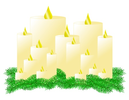 An illustration of multiple lit candles on a bed of pine boughs Stock Photo