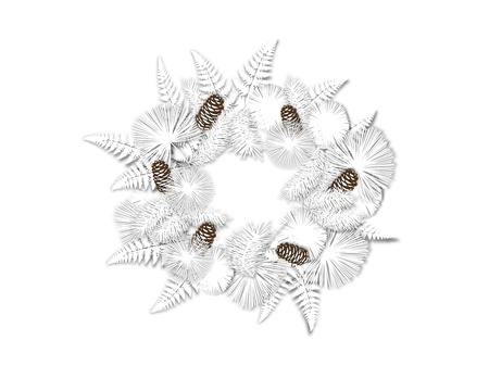 An illustration of a white winter wreath of pinecones, ferns, and evergreen boughs