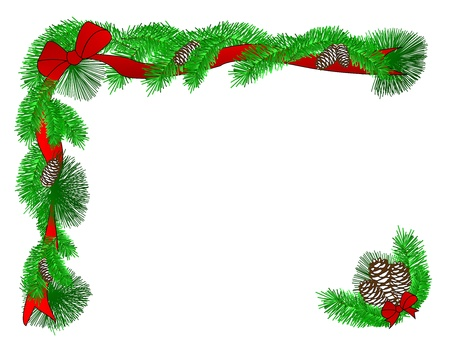 A Christmas border of red ribbons, evergreen boughs, and pinecones Stock Photo