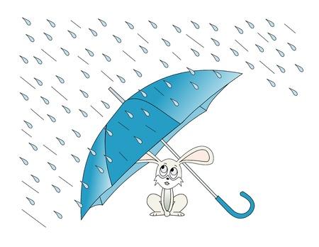 Illustratie van een konijn die schuilen voor de regen onder een paraplu Stockfoto