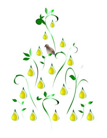 梨: 梨の木にいるヤマウズラの様式化された図 写真素材