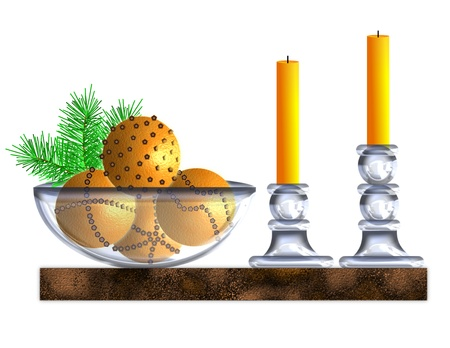 An illustration of oranges studded with cloves in a glass bowl next to glass candleholders and candles