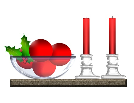 An illustration of red holiday balls in a glass bowl beside glass candleholders and red candles  Stock Photo