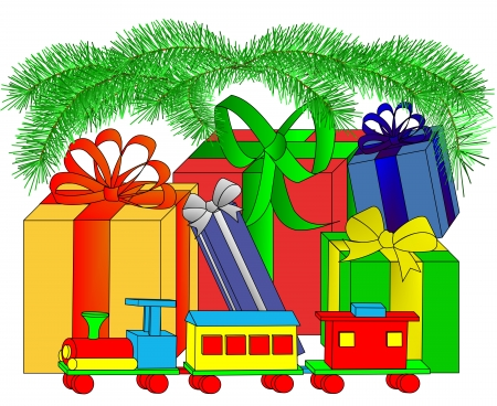 Illustration of wrapped presents and a toy wooden train under the boughs of an evergreen tree