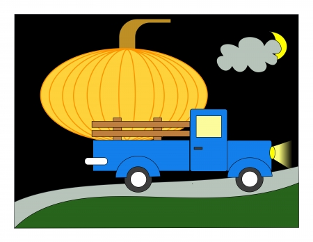 A giant pumpkin in the back of a pickup truck