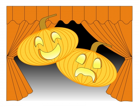 comedy: Pumpkins carved in the theme of theatrical masks of comedy and tragedy in front of stage curtains