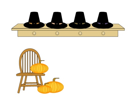 clothing rack: Row of Pilgrim hats on a shelf over a Windsor spindle chair with pumpkins